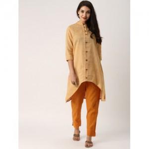 IndusDiva Beige & Orange Originals Self Design Kurta with Trousers