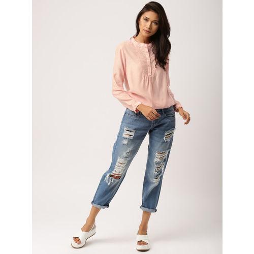 all about you from Deepika Padukone Women Pink Self Design Blouson Top