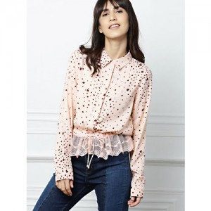 all about you Peach-Coloured Regular Fit Printed Casual Shirt with Lace Detail