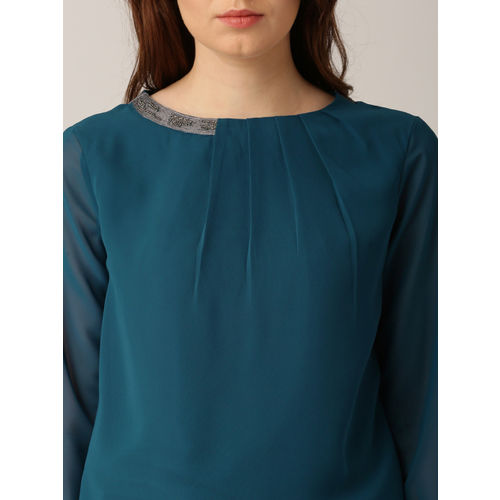 all about you from Deepika Padukone Women Teal Blue Solid Regular Top