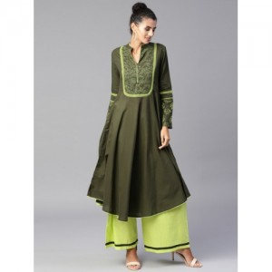 Tulsattva Green Cotton Yoke Design Kurta with Palazzos
