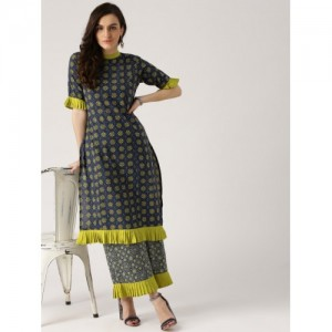 Libas Navy Blue & Lime Green Printed Kurta with Palazzos