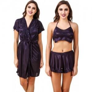 Fasense Purple Satin Silk Solid Nighty with Robe