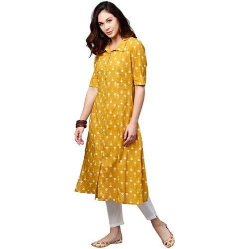 Aks Women's Self Design Straight Kurta(Yellow)