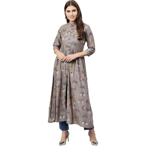 Gerua Grey Printed Flared Kurta