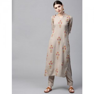 GERUA Grey & Red Printed Kurta With Trousers