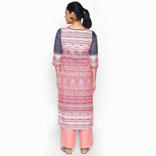 naari NAARI Women's Grey Embroidered Cotton Stitched Kurti