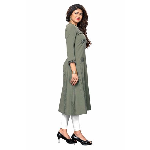 Vaikunth Fabrics Kurti In Gray Color And Flex Cotton Fabric For Womens VF-KU-215