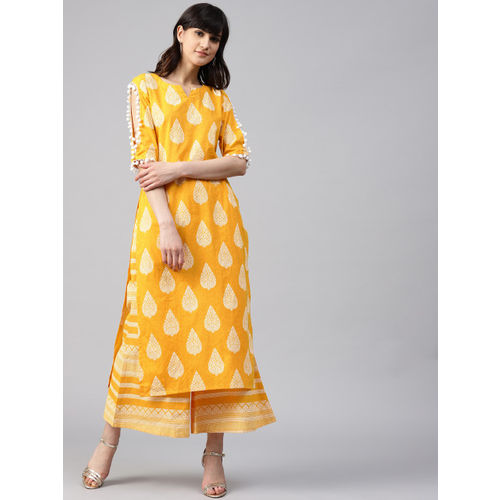 eb855b1588 Buy GERUA Yellow & White Printed Kurta With Palazzos online ...