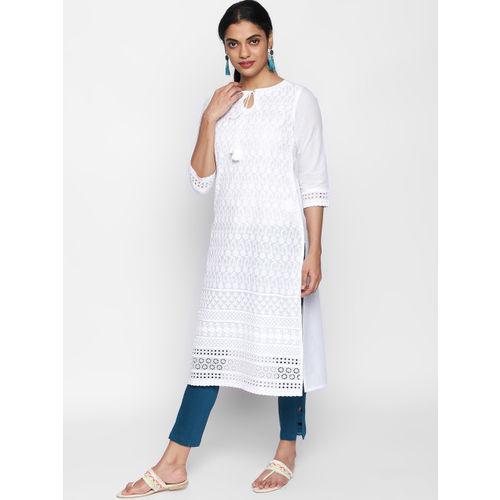 Naari NAARI Women White Woven Designed Kurta