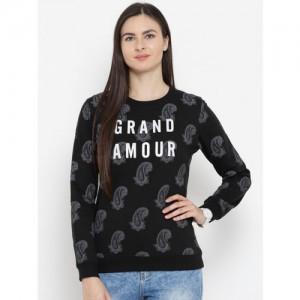 Cloak & Decker by Monte Carlo Women Black Printed Sweatshirt