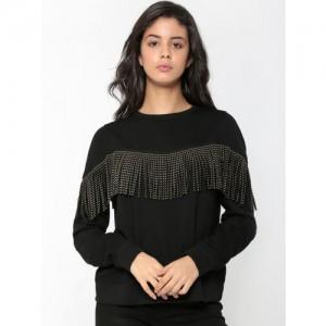 ONLY Women Black Solid Pullover Sweatshirt