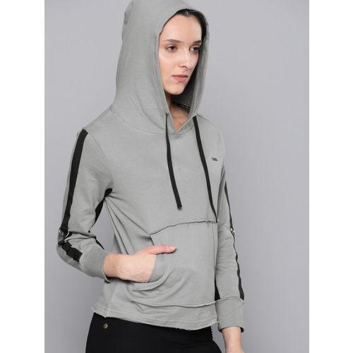NUSH Women Grey Solid Hooded Sweatshirt
