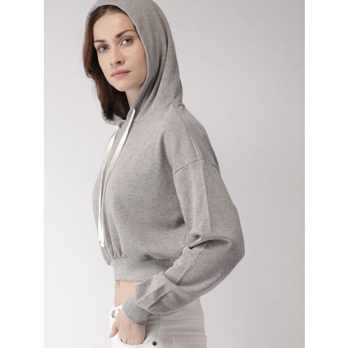 FOREVER 21 Women Grey Solid Hooded Cropped Sweatshirt