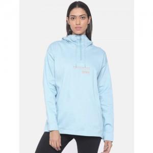 Adidas Originals Women Blue Solid Hooded Sweatshirt