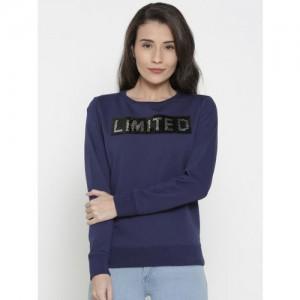 Pepe Jeans Women Blue Self Design Sweatshirt