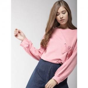 Mast & Harbour Women Pink Solid Sweatshirt