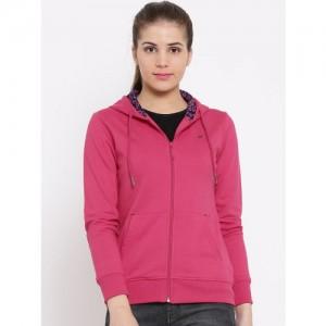 Monte Carlo Women Pink Solid Hooded Sweatshirt