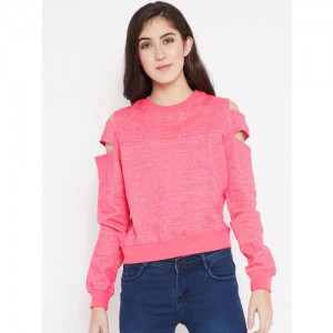 Madame Women Pink Cold Shoulder Sweatshirt with Grindle Effect
