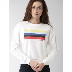 FOREVER 21 Women White Printed Sweatshirt
