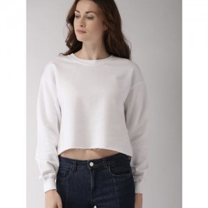 FOREVER 21 Women White Solid Cropped Sweatshirt