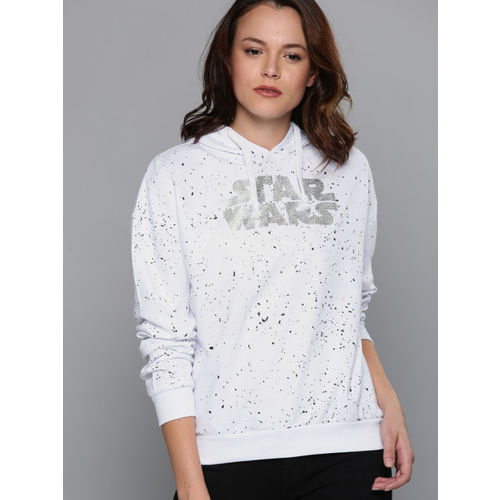 Kook N Keech Star Wars Women White Printed Hooded Sweatshirt