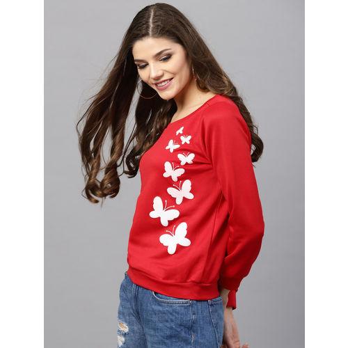 SASSAFRAS Red Polyester Printed Sweatshirt