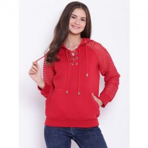 Texco Women Red Solid Hooded Sweatshirt