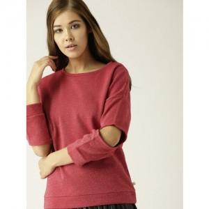 United Colors of Benetton Women Red Shimmery Sweatshirt
