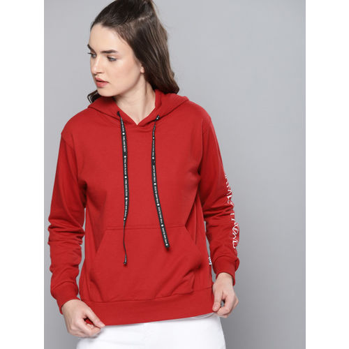 Game of Thrones by Kook N Keech Women Red Solid Hooded Sweatshirt