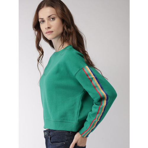 FOREVER 21 Women Green Solid Sweatshirt