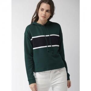FOREVER 21 Women Green & Navy Blue Colourblocked Hooded Sweatshirt