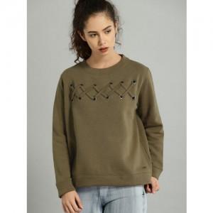 Roadster Women Olive Green Solid Sweatshirt