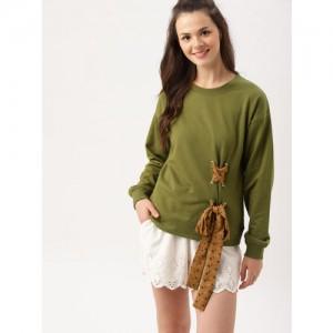 DressBerry Women Olive Green Solid Sweatshirt