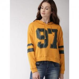 FOREVER 21 Women Yellow Printed Hooded Sweatshirt