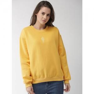 FOREVER 21 Women Yellow Solid Sweatshirt