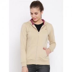 Monte Carlo Women Beige Solid Hooded Sweatshirt