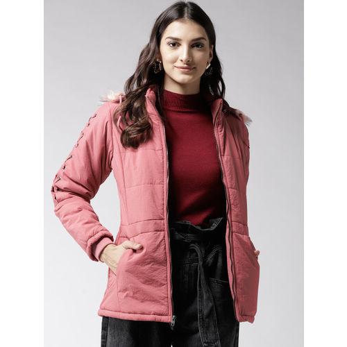 1f05e73fd Buy Fort Collins Women Pink Solid Hooded Parka Jacket online ...