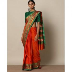 Indie Picks Orange South Silk Saree with Temple Border