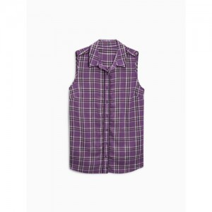 next Women Purple & White Checked Casual Shirt