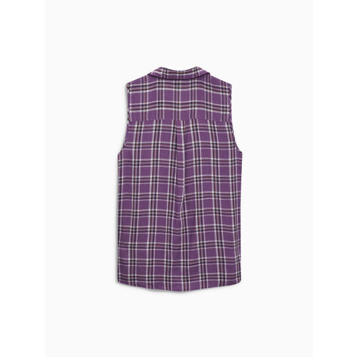 next Women Purple & White Checked Casual Shirt