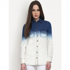 StalkBuyLove Women Blue & White Regular Fit Solid Casual Shirt