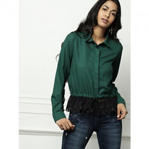all about you Green Solid Regular Fit Shirt
