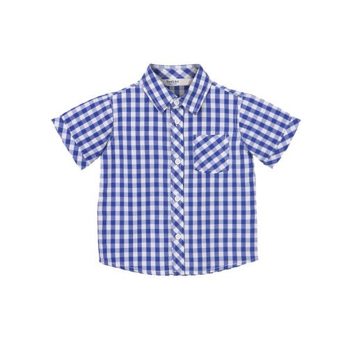 Beebay Boys Blue & White Regular Fit Checked Casual Shirt