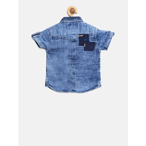 Gini and Jony Boys Blue Regular Fit Dyed Casual Shirt