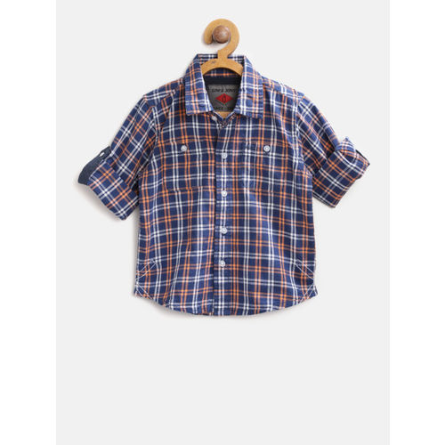 Gini and Jony Boys Navy & Orange Regular Fit Checked Casual Shirt
