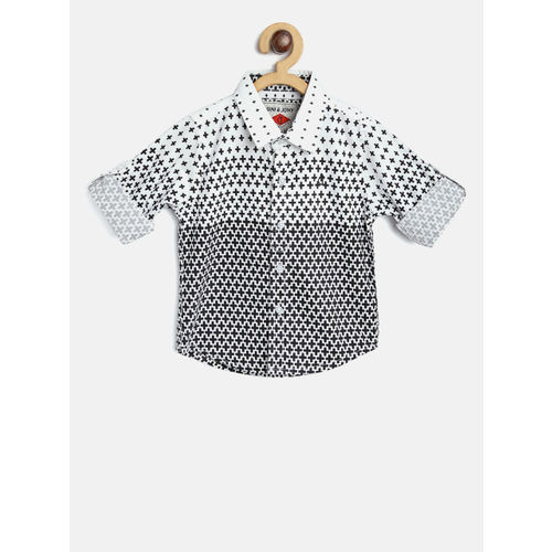 Gini and Jony Boys White & Black Regular Fit Printed Casual Shirt