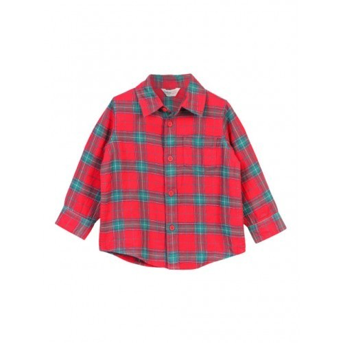 Beebay Boys Red Checked Casual Shirt