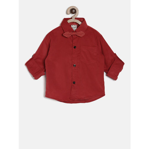 Little Kangaroos Boys Red Regular Fit Solid Casual Corduroy Shirt