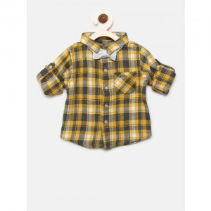 Gini and Jony Boys Yellow & Grey Regular Fit Checked Casual Shirt